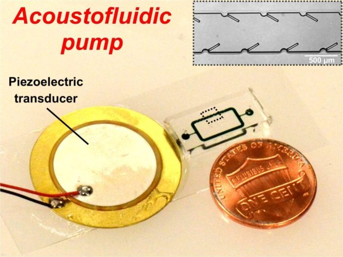 Po-Hsun Huang and Tony Jun Huang, Penn State An acoustically powered pumping device with 250 micron long oscillating structures driven by a piezoelectric transducer mounted on a glass slide