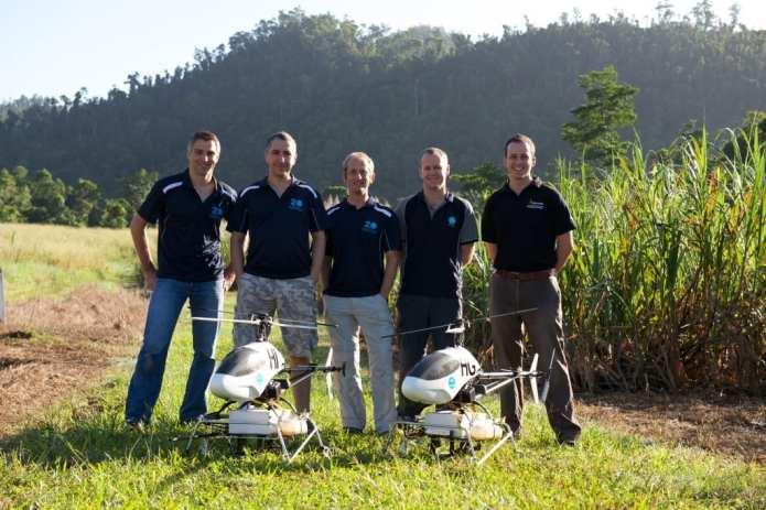 The team (L to R: Stefan Hrabar (CSIR0), Farid Kendoul (CSIRO), Torsten Merz (CSIRO), Brett Wood (CSIRO), Rowland Marshall (formerly QUT)) ©Stefan Hrabar-CSIRO