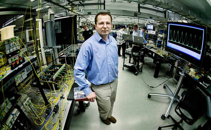 Electrical and Computer Engineering professor Stojan Radic in the Photonic Systems Laboratory of the Qualcomm Institute