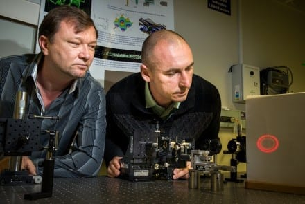 Dr Vladlen Shvedov (L) and Dr Cyril Hnatovsky adjusting the hollow laser beam in their lab at RSPE. Image Stuart Hay, ANU