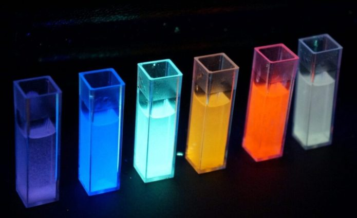 A new way to make white and colorful LEDs is more Earth-friendly than existing methods. Credit: American Chemical Society