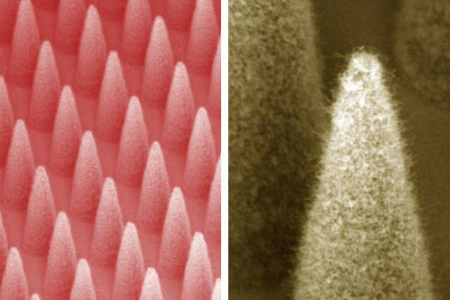 At left is a dense array of electrospray emitters (1,900 emitters in 1 centimeter square). At right is a close-up of a single emitter, covered by a forest of carbon nanotubes. Image: Journal of Micrelectromechanical Systems/colorized by MIT News
