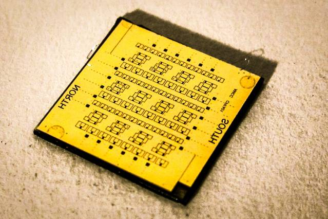 Shown here is a square-centimeter chip containing the nTron adder, which performed the first computation using the researchers' new superconducting circuit. Photo: Adam N. McCaughan