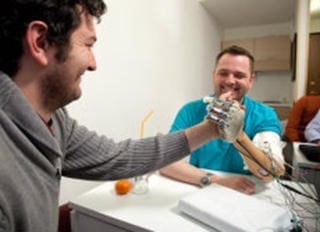 The world's most advanced bionic hand was tested with the help of amputee Dennis Aabo Sørensen who was able to grasp objects intuitively and identify what he was touching, while blindfolded. © LifeHand2