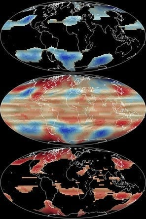 The middle panel illustrates spatial patterns of temperature anomalies for April 1998. The top panel shows locations that are below the 25th percentile, and the bottom panel shows locations that are above the 75th percentile.