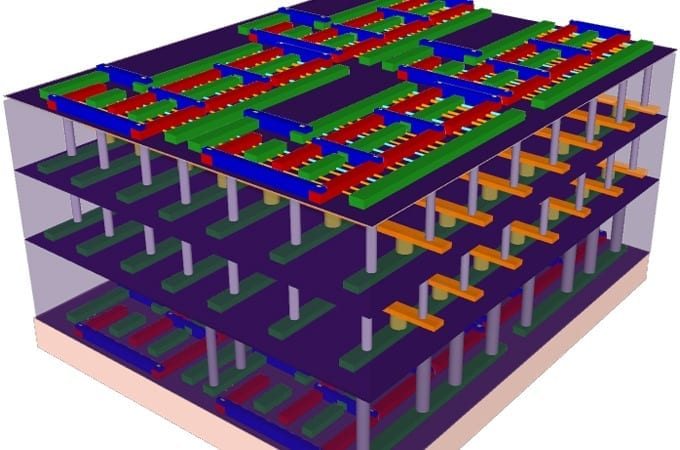 """This illustration represents the four-layer prototype high-rise chip built by Stanford engineers. The bottom and top layers are logic transistors. Sandwiched between them are two layers of memory. The vertical tubes are nanoscale electronic """"elevators"""" that connect logic and memory, allowing them to work together to solve problems. (Illustration: Max Shulaker)"""