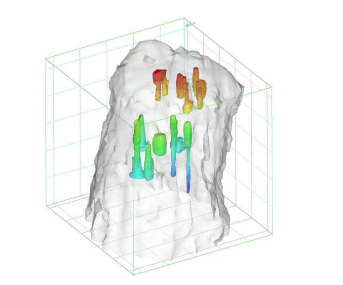 Salt caverns such as the one depicted here could provide a low-cost solution for the geologic storage of hydrogen. The colors in the illustration represent depth, with blue as the deepest part of the cavern and red the most shallow. (Image courtesy of Sandia National Laboratories)