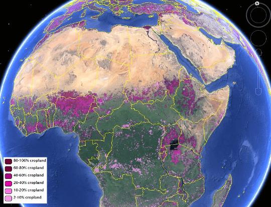 IIASA-IFPRI Global Cropland Map (View of northern and central Africa). Credit: IIASA Geo-Wiki Project, Google