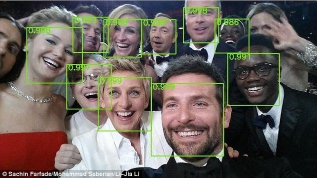 The Deep Dense Face Detector algorithm was built by Yahoo Labs in California and Stanford University. The researchers used a form of machine learning known as a deep convolutional neural network to train a computer to spot facial features (pictured) in a database of images