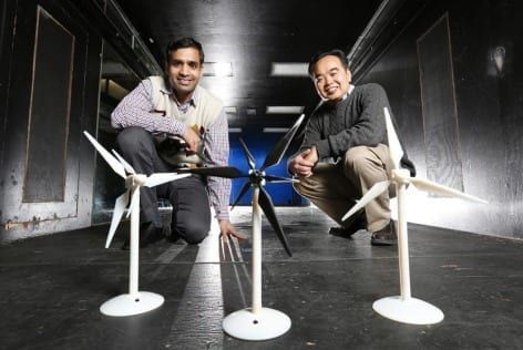 Iowa State aerospace engineers, left to right, Anupam Sharma and Hui Hu are working to improve the performance of wind turbines and wind farms. Larger image. Photo by Christopher Gannon.
