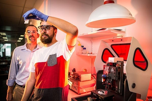 Another dimension: Professor Marc in het Panhuis (left) and PhD student Shannon Bakarich are building objects using 4D printing, where time is the fourth dimension.