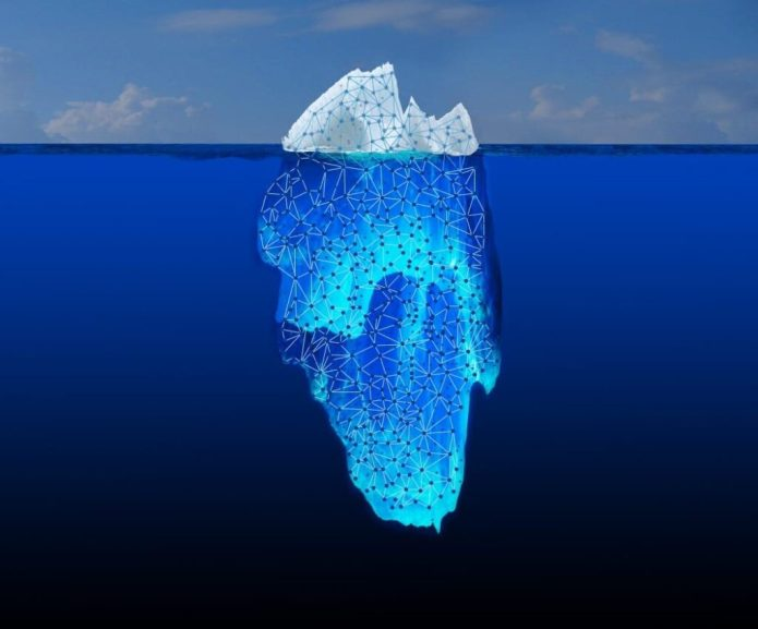 "What you see when you do a basic Web search is only the tip of the iceberg. Most of the information is buried in the ""Deep Web."" JPL is collaborating on a DARPA initiative called Memex, which explores the connections between bits of information hidden in this vast ocean of content. Image credit: NASA/JPL-Caltech"