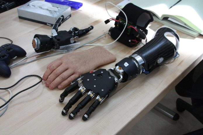 The Modular Prosthetic Limb (MPL) was developed as part of a four-year program by the Johns Hopkins Applied Physics Laboratory, along with Walter Reed National Military Medical Center and the Uniformed Services University of the Health Sciences. The brain-controlled prosthetic has nearly as much dexterity as a natural limb, and allows independent movement of fingers. The MPL was used by wounded warriors at the Walter Reed National Military Medical Center for the first time Jan. 24, 2012. (U.S. Navy photo by Sarah Fortney/Released)