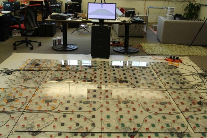 LiSense senses a user's movements by utilizing shadow maps on the floor to reconstruct their 3D posture (Credit: Dartmouth College)