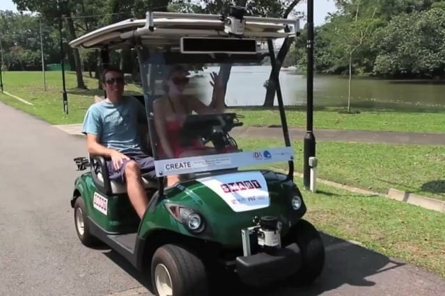 The autonomous golf carts (shown here) deployed in the Singapore public gardens relied on just a few unobtrusive sensors. Screenshot from video provided by SMART