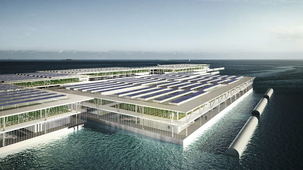 Each Smart Floating Farm would be a triple-decker barge, featuring a fish farm, hydroponic garden and rooftop solar panels (Credit: Smart Floating Farms)