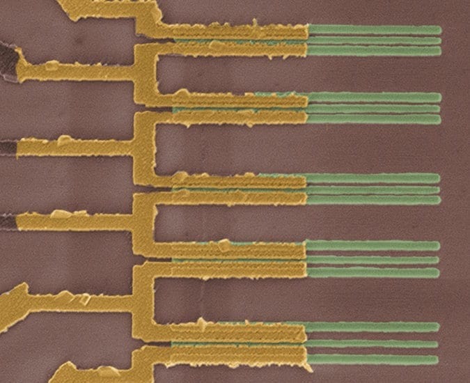 A set of ultratiny nanotube transistors made by IBM. Credit IBM Research