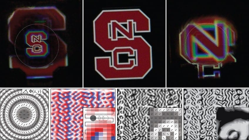 Top Row: Three images of the NC State logo as viewed through a geometric phase hologram, in this case a lens, where each corresponds to one of the three possible wavefronts. Bottom Row: Illustrations, simulation, and microscope picture showing the liquid crystal orientation created by the light patterning techniques reported in the paper, showing a lens profile (left image) and a far-field hologram profile (right three images).