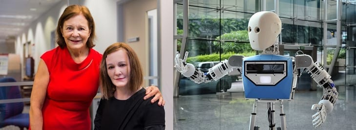 Prof Nadia Thalmann (left) posing beside Nadine. NTU-built EDGAR telepresence robot (right).
