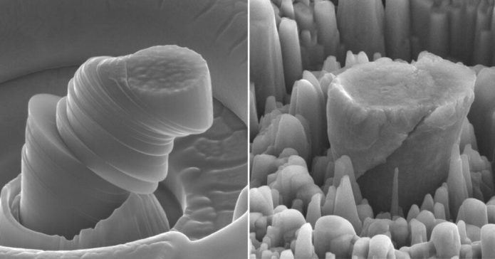 UCLA Scifacturing Laboratory At left, a deformed sample of pure metal; at right, the strong new metal made of magnesium with silicon carbide nanoparticles. Each central micropillar is about 4 micrometers across.