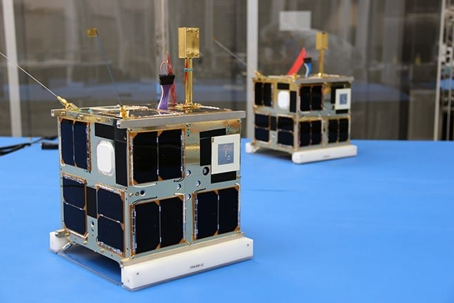 Image Courtesy of UTIAS Space Flight Laboratory. CanX-4 and CanX-5 are a pair of identical nanosatellites built by the Space Flight Laboratory, and launched in June 2014.