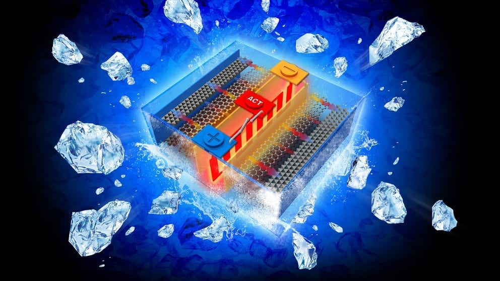An all-climate battery that rapidly self-heats battery materials and electrochemical interfaces in cold environments Image: Chao-Yang Wang / Penn State