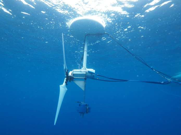 The Quantum Wave Microscopy Unit conducted towing experiment at sea to test the prototype of the ocean-current turbine.