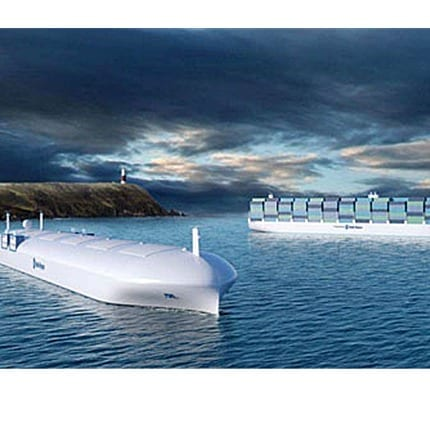 Autonomous cargo ships whose concepts were designed by Rolls Royce - via KAIST