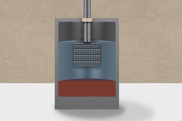 An artist's rendering of a calcium liquid battery. Illustration: Christine Daniloff/MIT