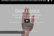 SkinHaptics: Ultrasound Focused in the Hand Create Tactile Sensation