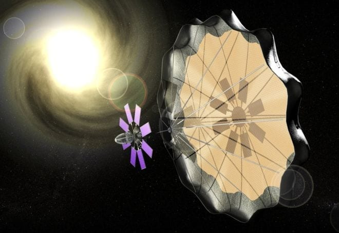 This generic artist's concept shows how a solar sail might work - via BBC