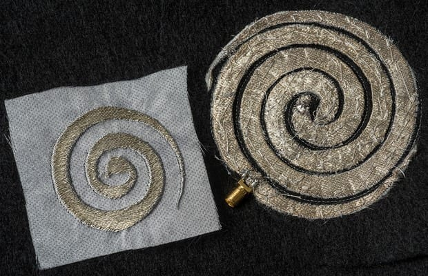 Researchers at The Ohio State University are developing embroidered antennas and circuits with 0.1 mm precision—the perfect size to integrate electronic components such as sensors and computer memory devices into clothing. Photo by Jo McCulty, courtesy of The Ohio State University.