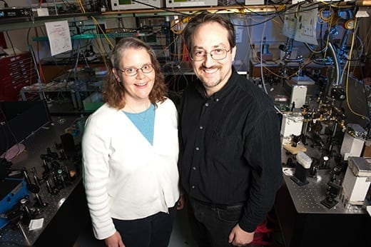 Kristan Corwin, left, and Brian Washburn, both associate professors of physics at Kansas State University, have invented a new patented class of lasers.