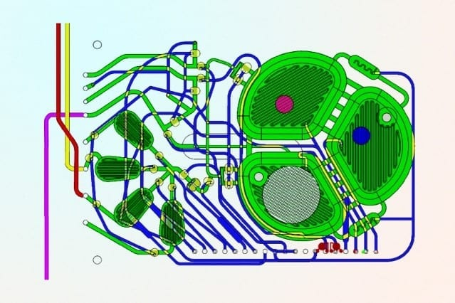 A new, portable production system is designed to manufacture a range of biopharmaceuticals on demand. The principal component of the microbioreactor is a plastic chip with microfluidic circuits (green), optical sensors (red and blue circles) for monitoring oxygen and acidity, and a filter to retain the cells while the therapeutic protein is extracted (white circle). Courtesy of the researchers