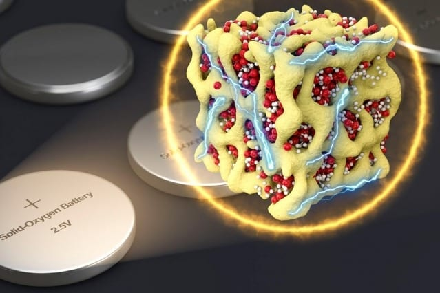 In a new concept for battery cathodes, nanometer-scale particles made of lithium and oxygen compounds (depicted in red and white) are embedded in a sponge-like lattice (yellow) of cobalt oxide, which keeps them stable. The researchers propose that the material could be packaged in batteries that are very similar to conventional sealed batteries yet provide much more energy for their weight. Courtesy of the researchers