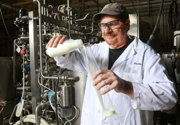 A study conducted by Purdue University researcher Bruce Applegate, associate professor in the Department of Food Science, and others developed a process that extends the shelf life of milk. (Purdue Agriculture Communication photo/Tom Campbell)