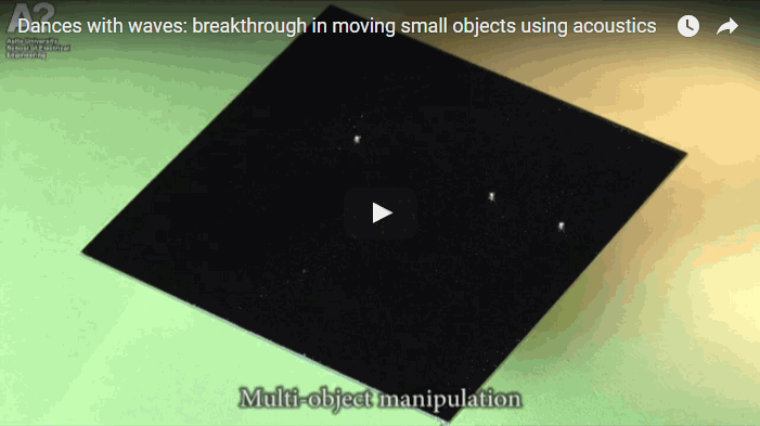 Researchers move multiple objects simultaneously and independently on a plate by playing carefully chosen musical notes. Video: Quan Zhou, Kourosh Latifi