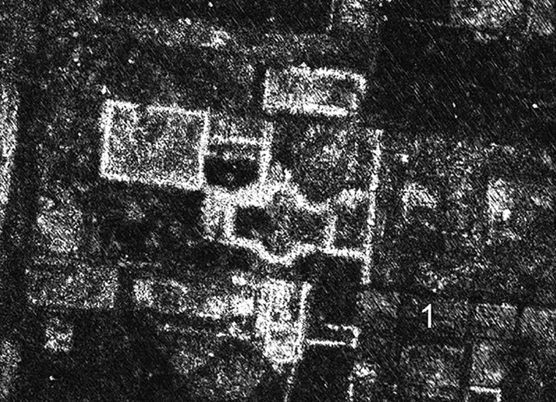 GPR time-slice in the case study area, at an estimated depth of 0.75–0.80m. (1) marks the removal of walls by stone robbing. Image: L. Verdonck