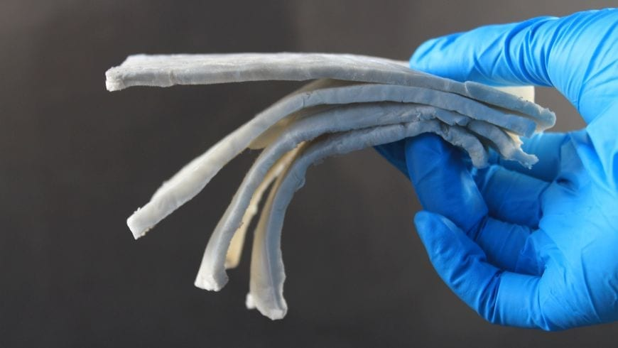 A sample of the electromagnetic shielding material made by Empa – a composite of cellulose nanofibres and silver nanowires. Image: Empa