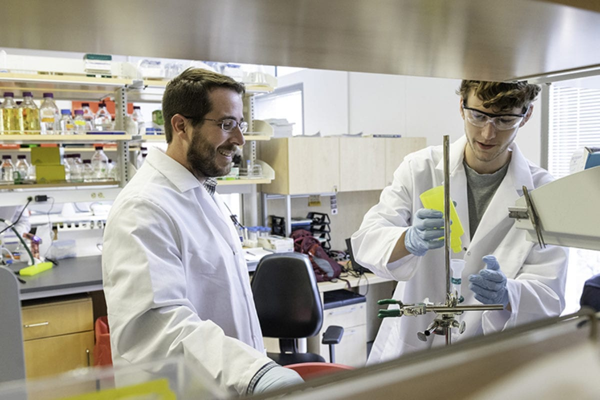 Jason S. McLellan, associate professor of molecular biosciences, left, and graduate student Daniel Wrapp, right, work in the McLellan Lab at The University of Texas at Austin Monday Feb. 17, 2020.