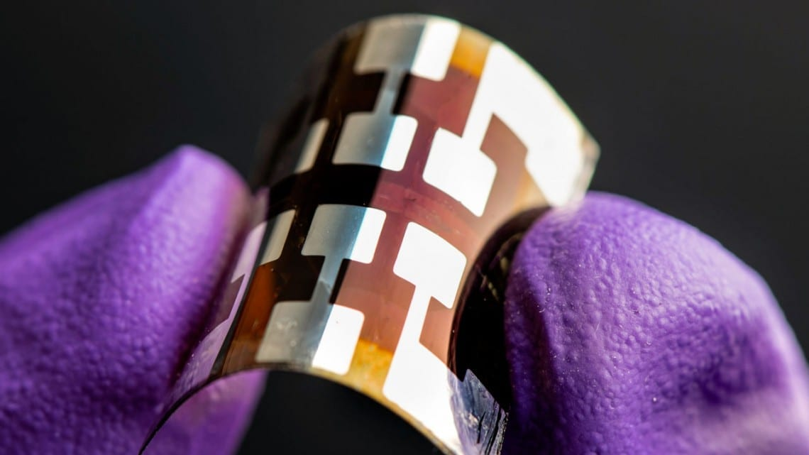 Dennis Schroeder/National Renewable Energy Laboratory A solar cell made with perovskite, shown here, show promise as an energy-efficient, scalable and longer-lasting way to create solar panels