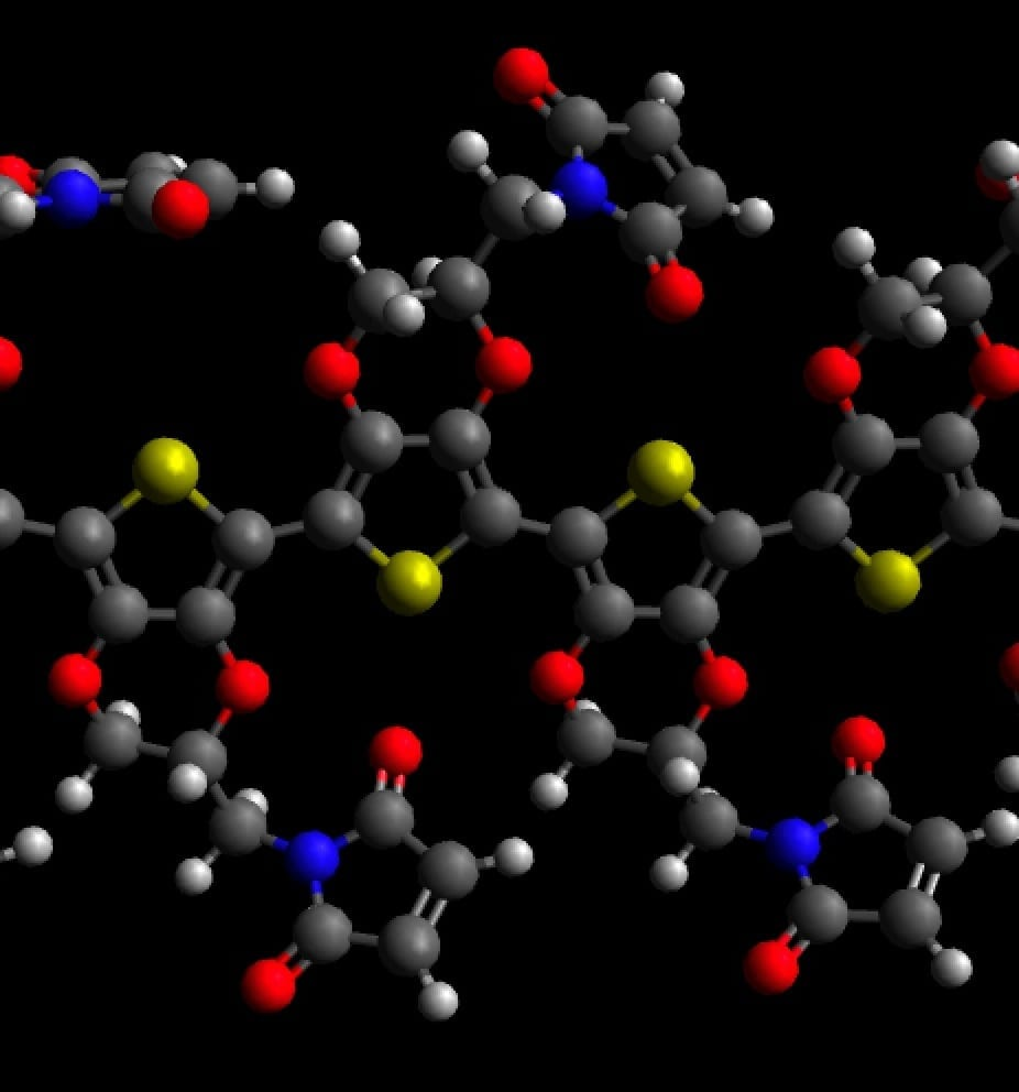 Molecular model of PEDOT with maleimide; carbon atoms are grey, oxygens red, nitrogens blue, sulfurs yellow and hydrogens white. Credit: David Martin