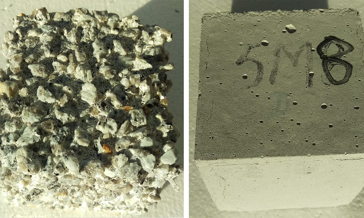 Left: Highly corroded ordinary Portland cement concrete. Right: Zero cement concrete.