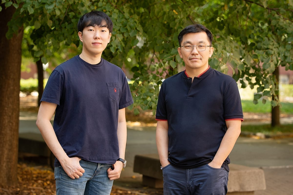 From left: Byoungsoo Kim - postdoctoral researcher, chemical and biomolecular engineering; and Joon Kong, professor of chemical and biomolecular engineering