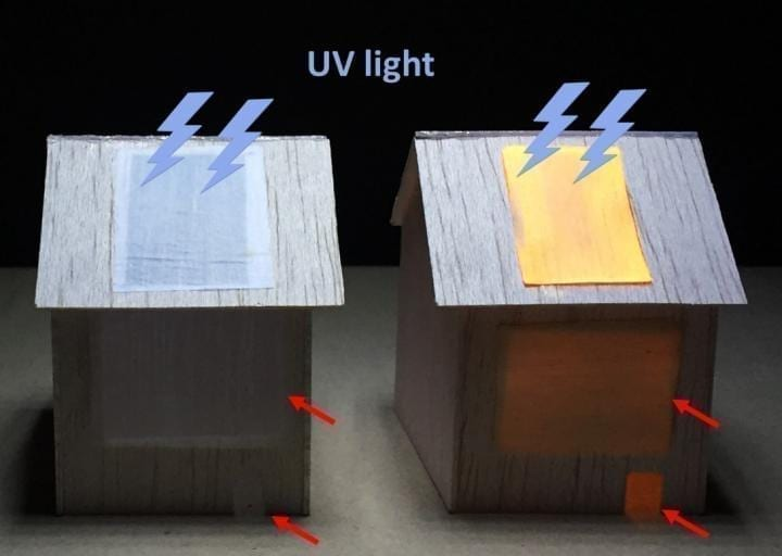 "When exposed to UV light on the outside, a luminescent wood panel (right) lights up an indoor space (as seen through""windows;"" red arrows), whereas a non-luminescent panel (left) does not. CREDIT Adapted from ACS Nano 2020, DOI: 10.1021/acsnano.0c06110"