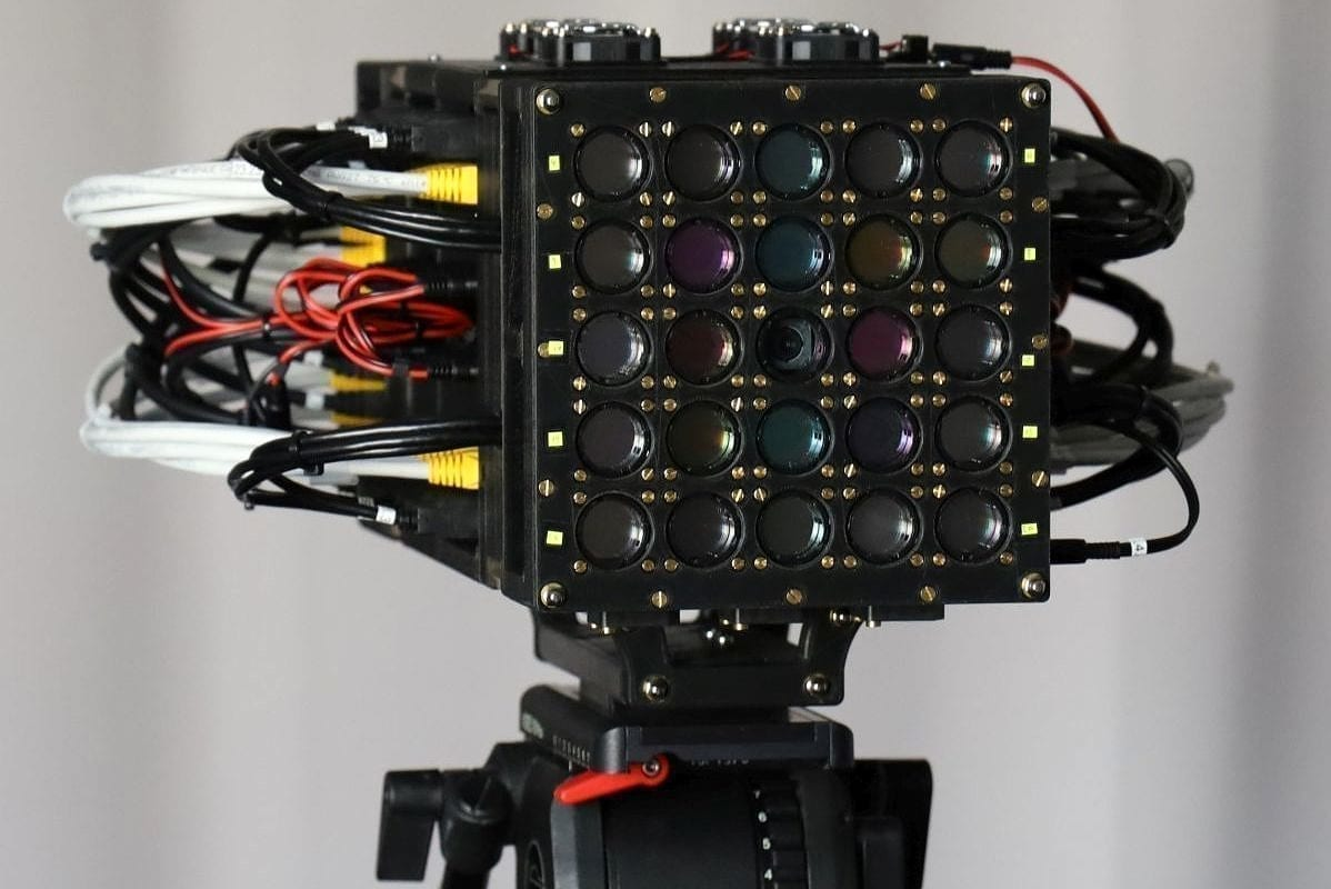 The prototype of the high-resolution multi-spectral camera developed by a research team at the Chair of Multimedia Communications and Signal Processing at FAU: 5x5 cameras combine spatial, temporal and spectral resolution. (Image: FAU/Nils Genser)