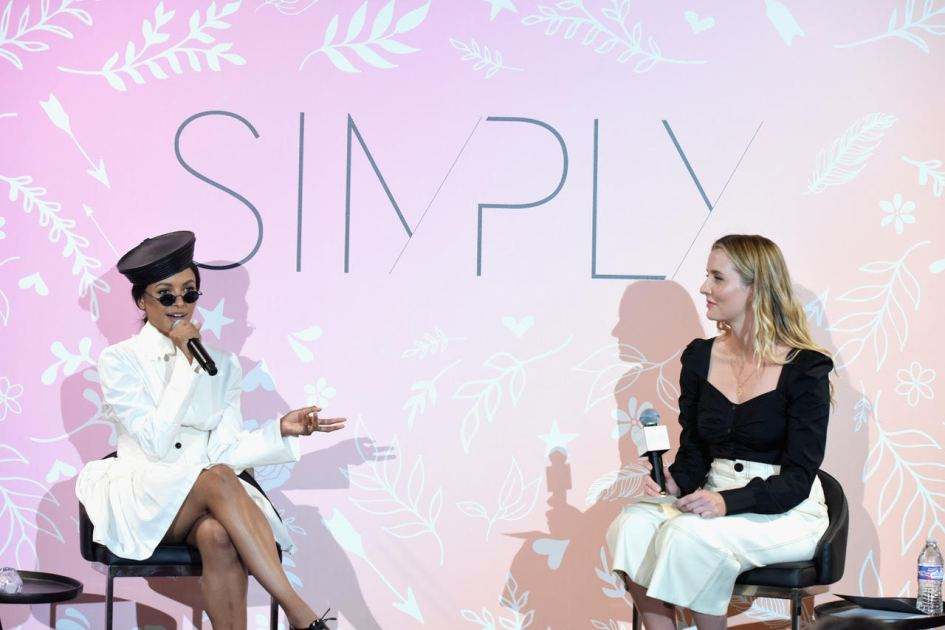 GLENDALE, CA - AUGUST 11:  (L-R) Actress Kat Graham and Editor, Who What Wear, Kristen Marie Nichols speak onstage during the SIMPLY LA Fashion & Beauty Conference Powered By WhoWhatWear at The Americana at Brand on August 11, 2018 in Glendale, California.  (Photo by Vivien Killilea/Getty Images for Simply LA)