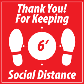 "12""x12"" Thank you for Keeping Social Distance (Wall, Floor, Window) 018"