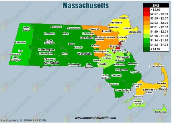 Massachusetts Gas prices 01.16