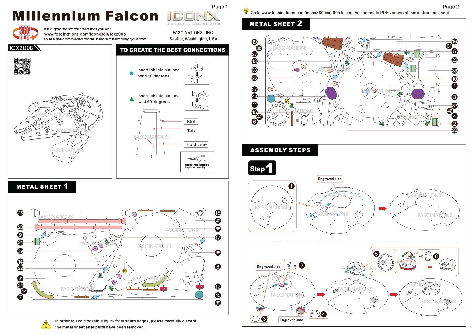 Metal Earth Iconx Millennium Falcon 3D DIY Star Wars Metal